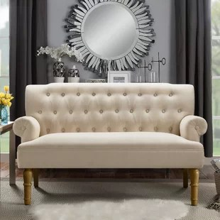 living room settee benches ideas with blue and brown settees you ll love wayfair bjorn chesterfield