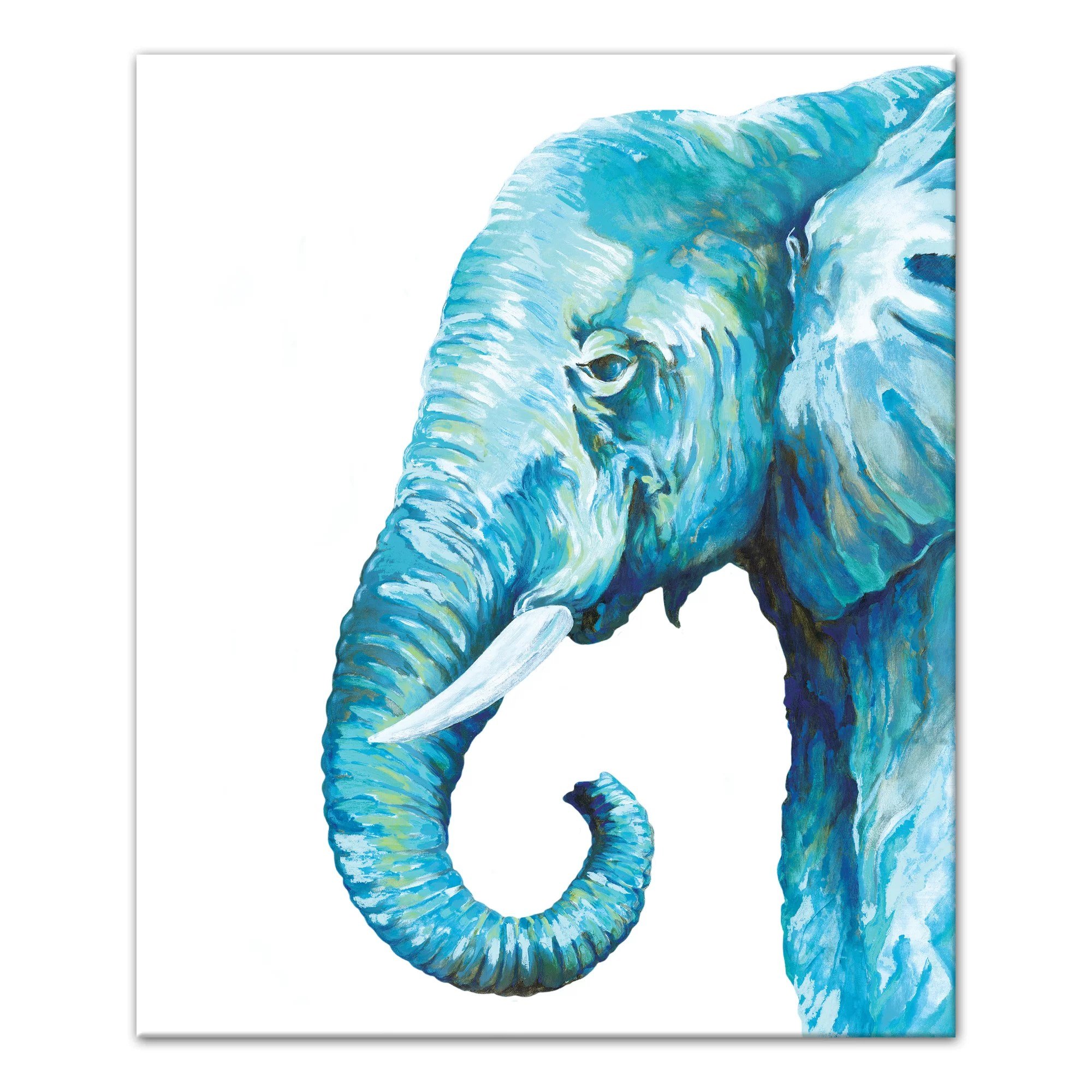 blue elephant watercolor painting