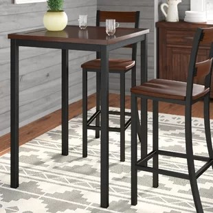 kitchen table and chairs with wheels swivel recliner argos pub tables bistro sets you ll love wayfair ashlyn