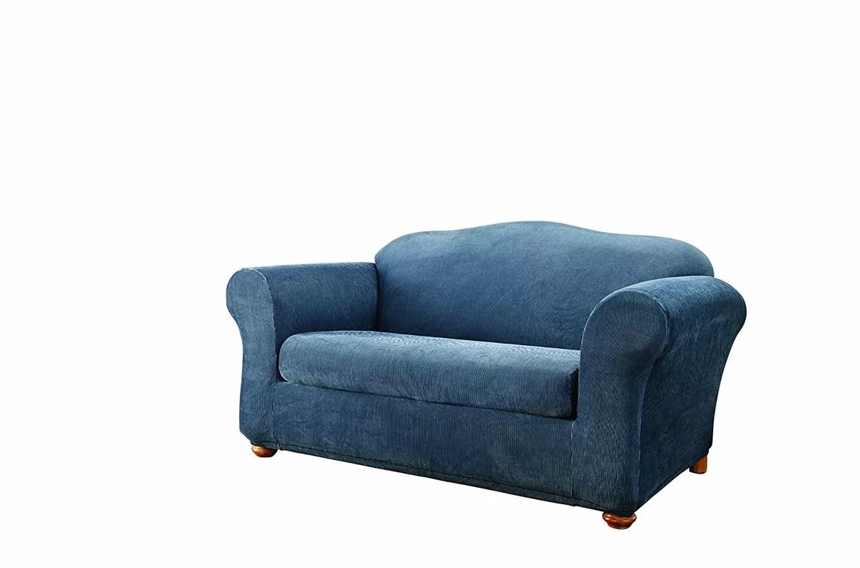 sure fit stretch stripe 2 piece sofa slipcover sand emerald green box cushion loveseat