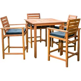 outdoor bar table and chairs how to clean a leather chair height patio sets joss main esperance 5 piece dining set with cooler insert