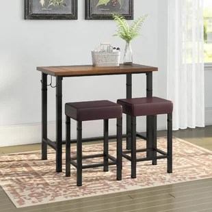 small pub table and chairs study desk chair tables bistro sets you ll love wayfair sevigny 3 piece set