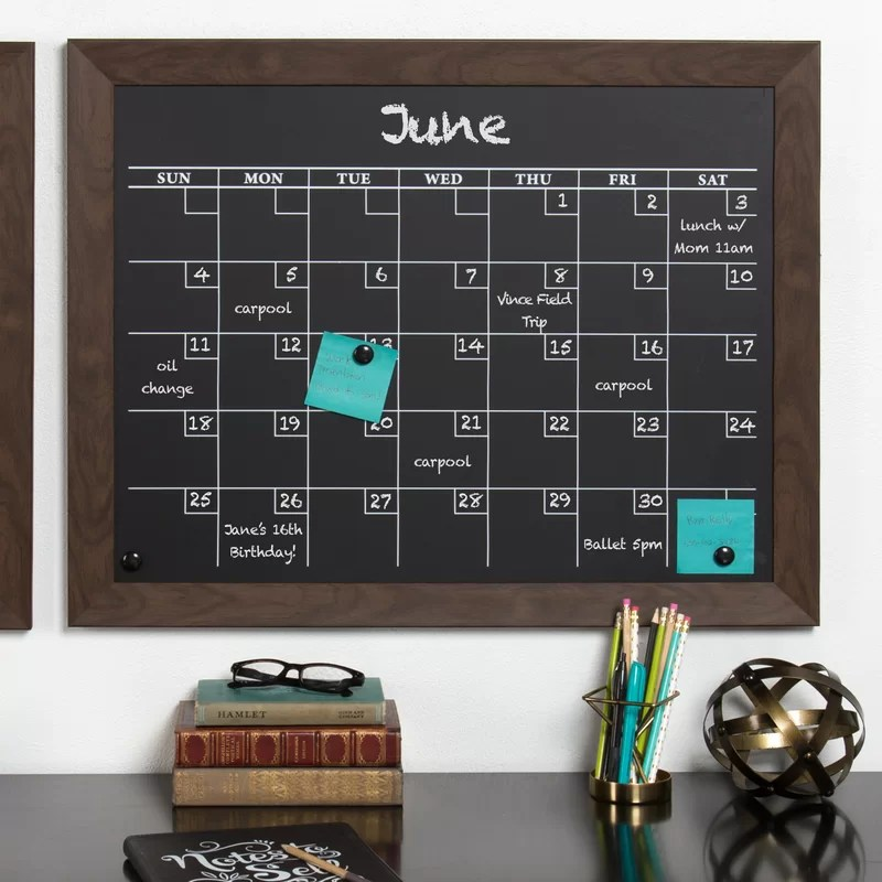 Union Rustic Framed Monthly Calendar Magnetic Chalkboard  Reviews  Wayfair