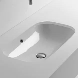 lavabo de salle de bain rectangulaire sous le comptoir avec trop plein ciotola