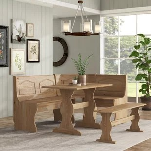 dining set with bench and chairs conference room wheels kitchen sets you ll love lall 3 piece breakfast nook