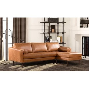 leather sectional living room ideas blue furniture sofas you ll love wayfair kate
