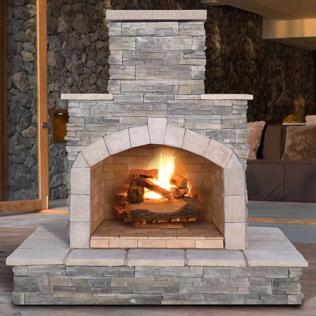 cal flame cultured stone propane/natural gas outdoor fireplace | wayfair
