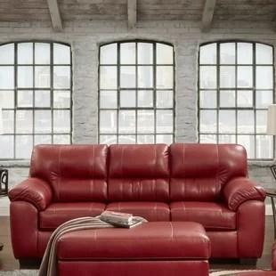 leather red sofa jual air bed bestway crimson wayfair rainsburg