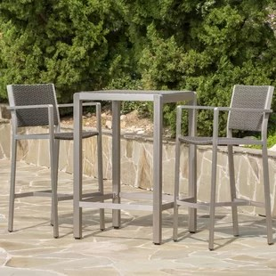 bar height table and chairs outdoor metal chair cushions patio sets wayfair durbin 3 piece dining set