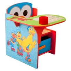 Elmo Table And Chairs Steel Chair Office Wayfair Sesame Street Kids Desk With Storage Compartment Cup Holder