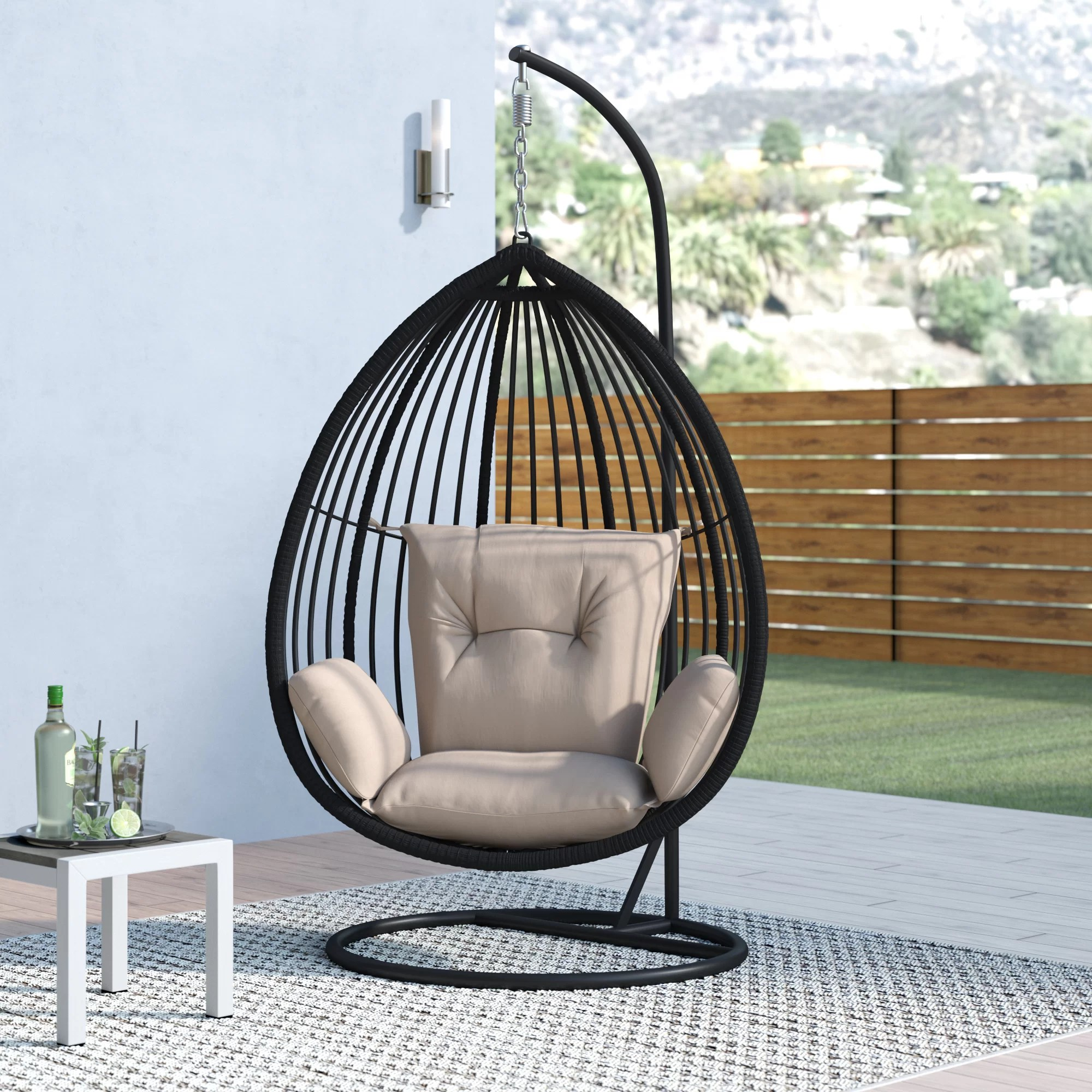 swing chair in stand black aluminium garden chairs orren ellis audra with reviews wayfair