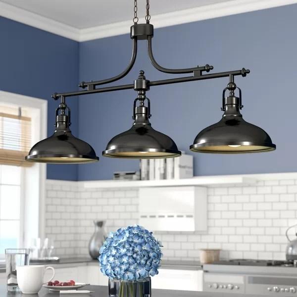 2 tier kitchen island ventilation fan beachcrest home martinique 3-light pendant ...