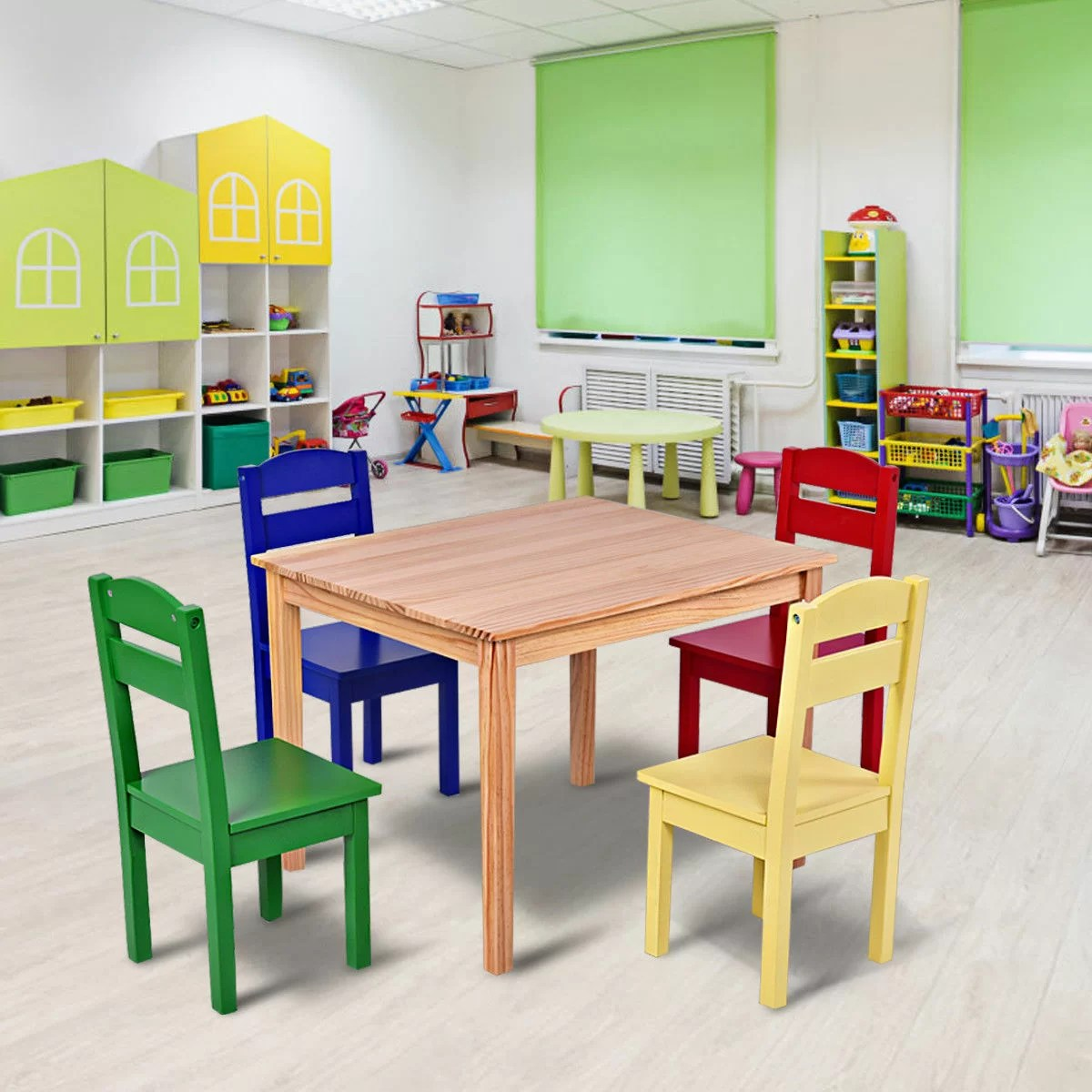 Kids Wood Table And Chairs Dickie Kids 5 Piece Writing Table And Chair Set