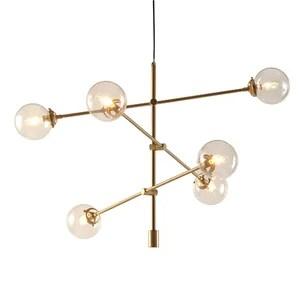 Cyrus Antique Gold 6 Light Oversized Bulbs Spunik Chandelier