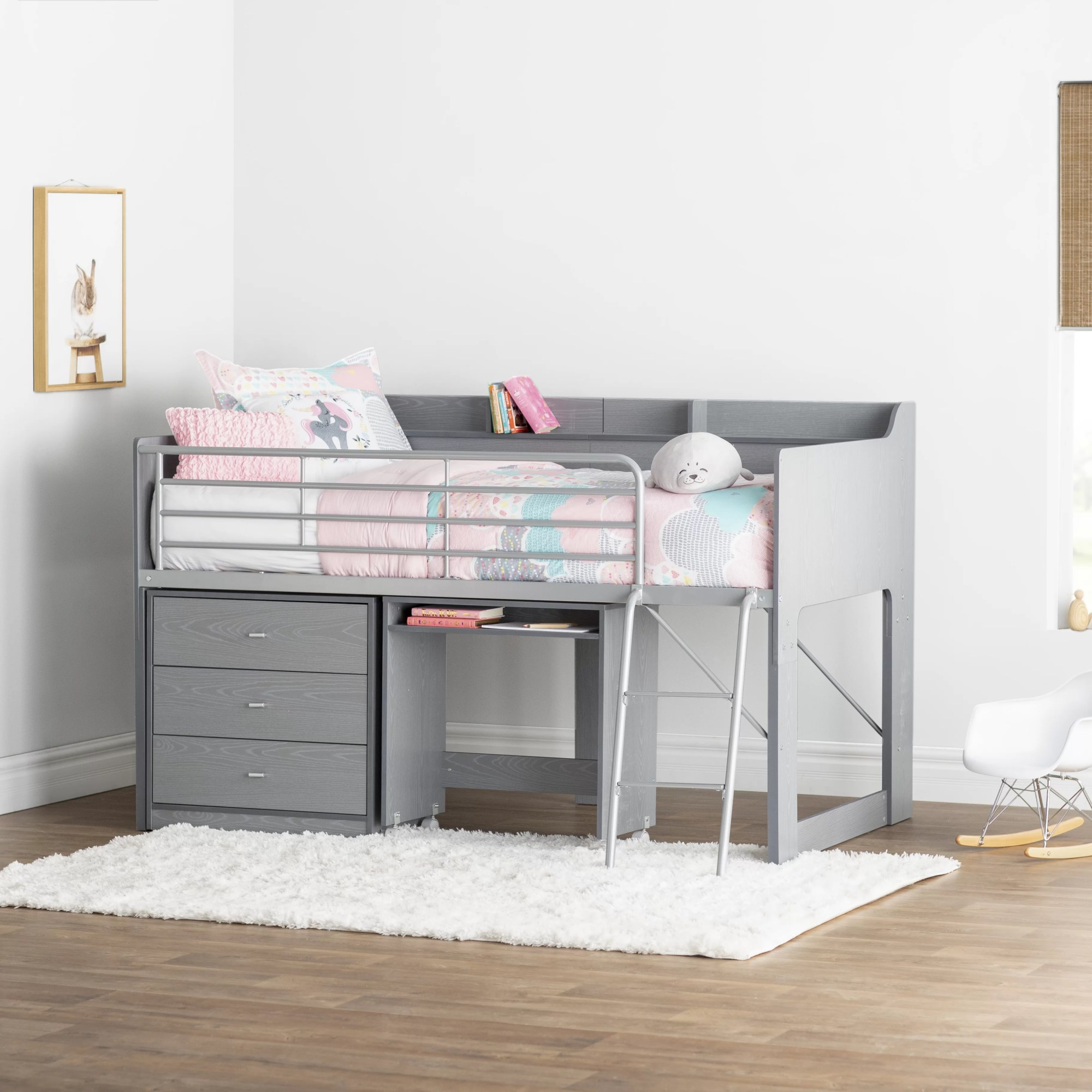 hight resolution of mack milo alcester twin low loft bed with desk and storage reviews wayfair