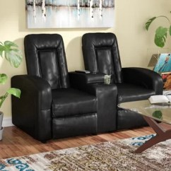 Stadium Seating Couches Living Room Red White And Blue Decor Theater You Ll Love Wayfair Leather 2 Seat Home Recliner With Storage Console