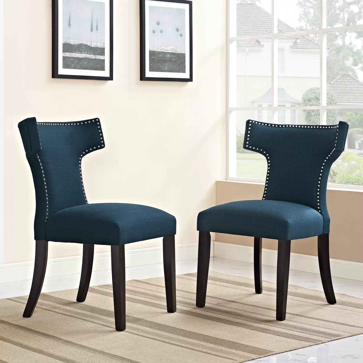 Studded Dining Chairs Curve Upholstered Dining Chair