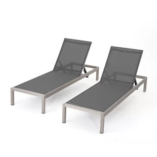 outdoor chaise lounge chairs with wheels clear vanity chair modern lounges allmodern lacon mesh set of 2