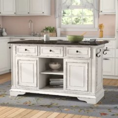 Large White Kitchen Island Scraper Islands Birch Lane Tiphaine With Granite Top