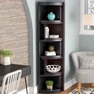 bookcase cabinets living room white sectional ideas curved wayfair bridges corner unit