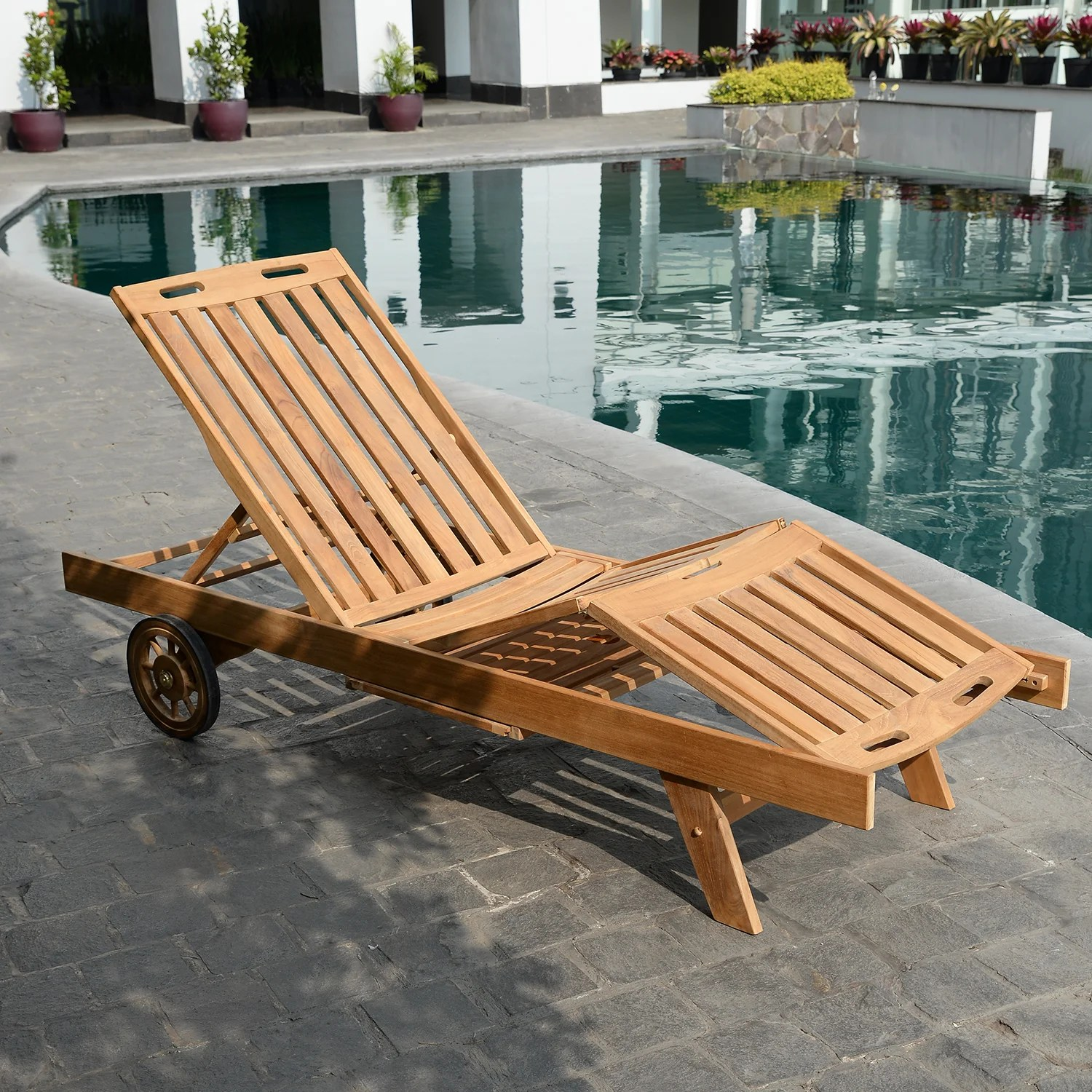 Teak Chaise Lounge Chairs Summerton Reclining Teak Chaise Lounge