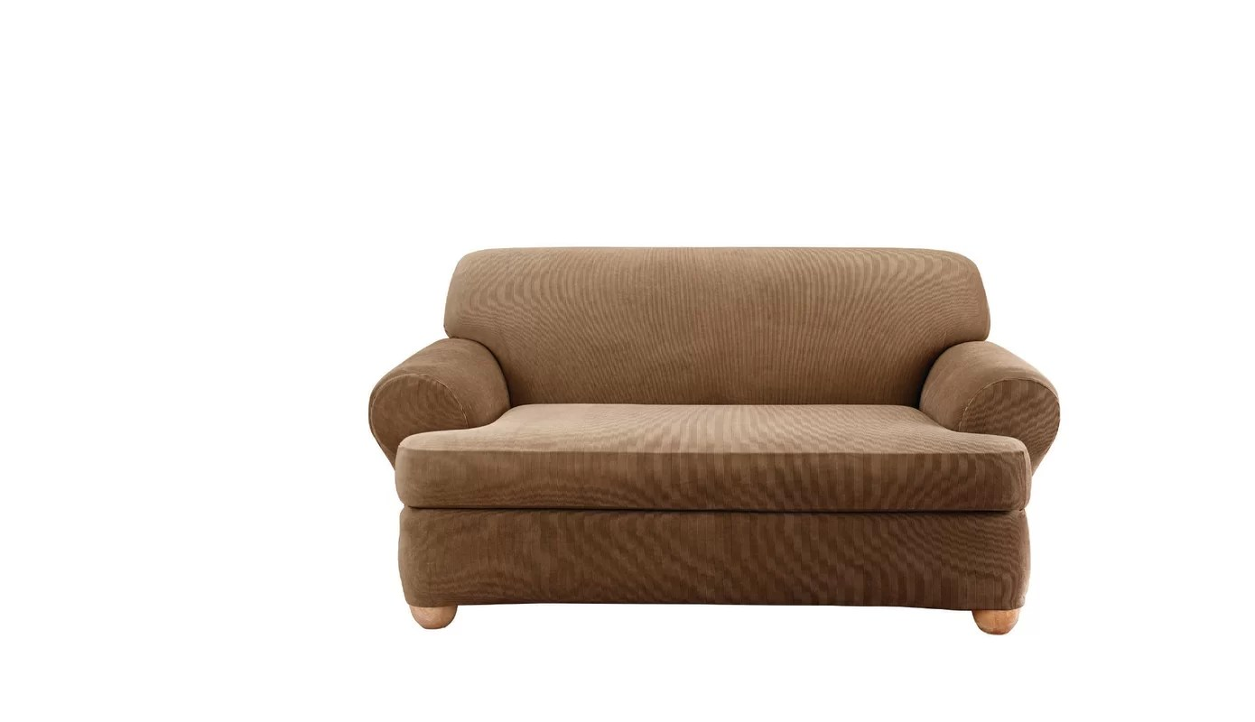 sure fit stretch stripe 2 piece sofa slipcover sand microfiber sectional chaise t cushion loveseat