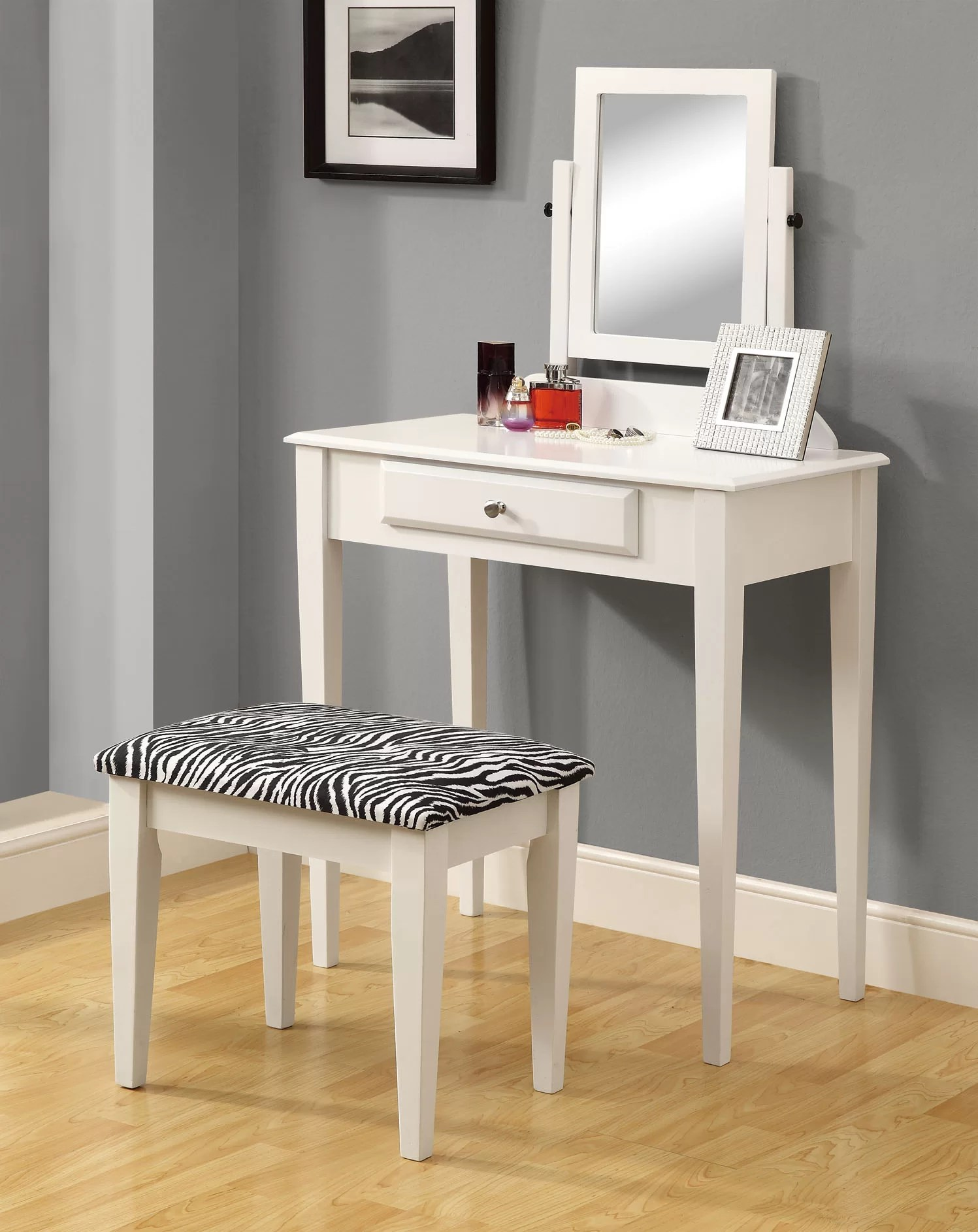 monarch specialties inc vanity set with mirror zebra print stool reviews wayfair