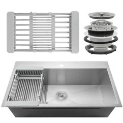 Sinks Kitchen Cabinets Houston You Ll Love Wayfair Ca 18 Drop In Top Mount Stainless Steel Single Bowl Sink W Adjustable Tray And Drain Strainer Kit