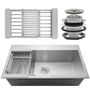 sinks kitchen knife sheaths you ll love wayfair ca 18 drop in top mount stainless steel single bowl sink w adjustable tray and drain strainer kit