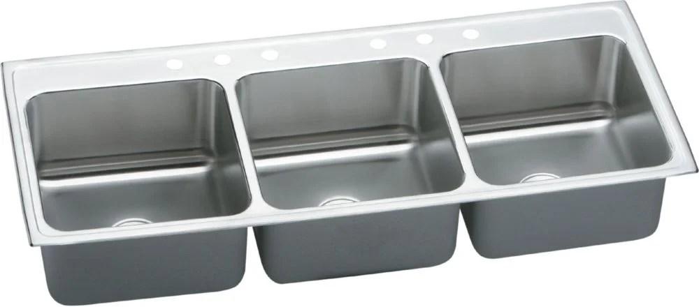 triple kitchen sink cherry cart elkay lustertone 54 l x 22 w bowl wayfair