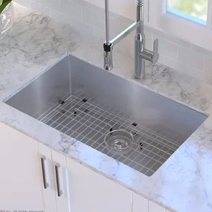 sinks kitchen rv you ll love wayfair ca 30 x 18 undermount sink with grid and drain assembly