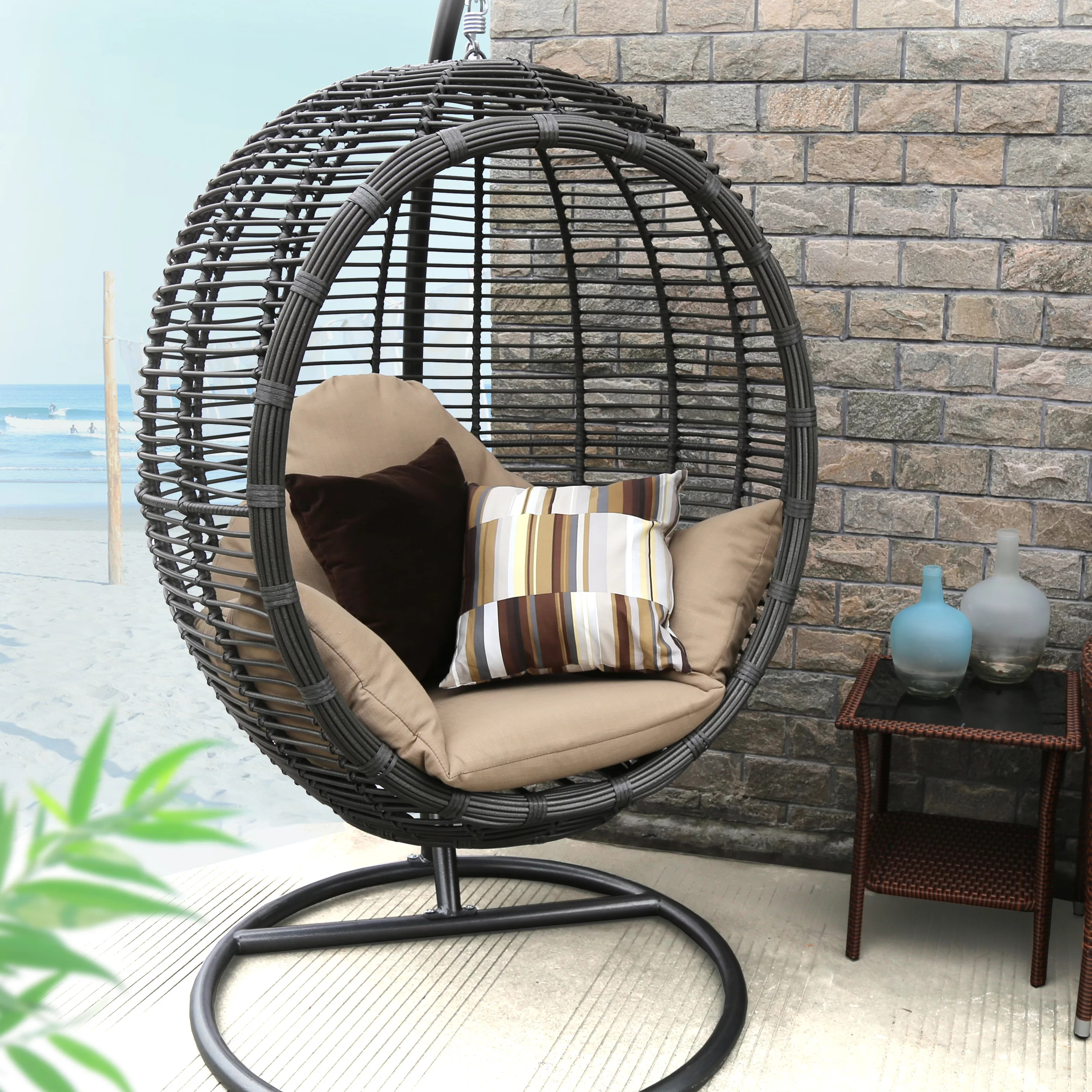 swing chair with stand kuwait armless upholstered baner garden and reviews wayfair