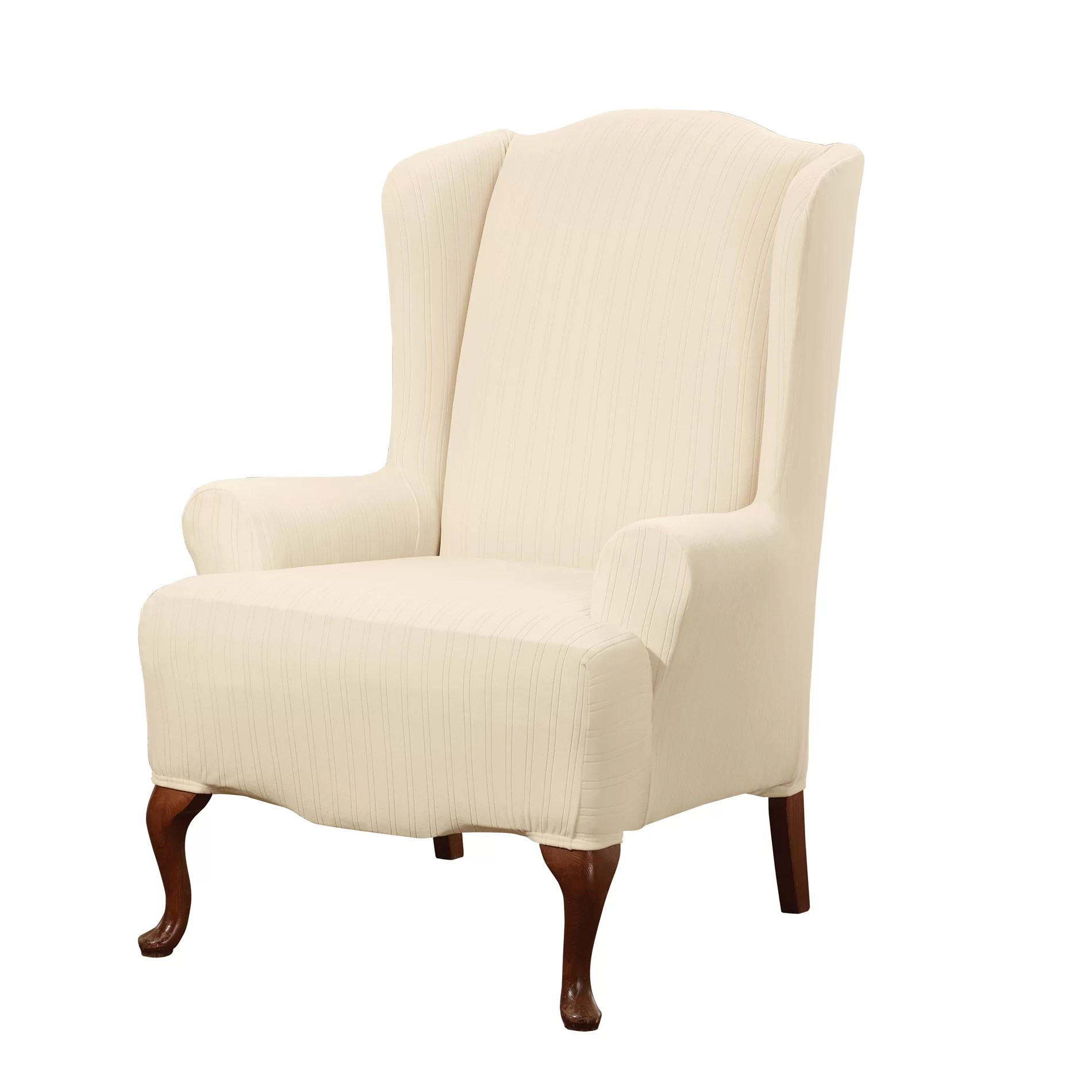 Wayfair Wingback Chair Sure Fit Stretch Pinstripe Wing Chair Slipcover And Reviews