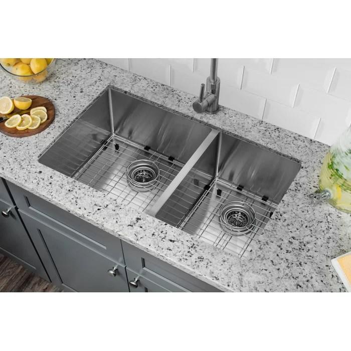 stainless steel undermount kitchen sinks bay window soleil radius 16 gauge 32 x 19 60 40 double bowl sink reviews wayfair ca