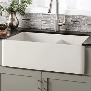 kitchen sink white finance cabinets farmhouse sinks you ll love wayfair quickview