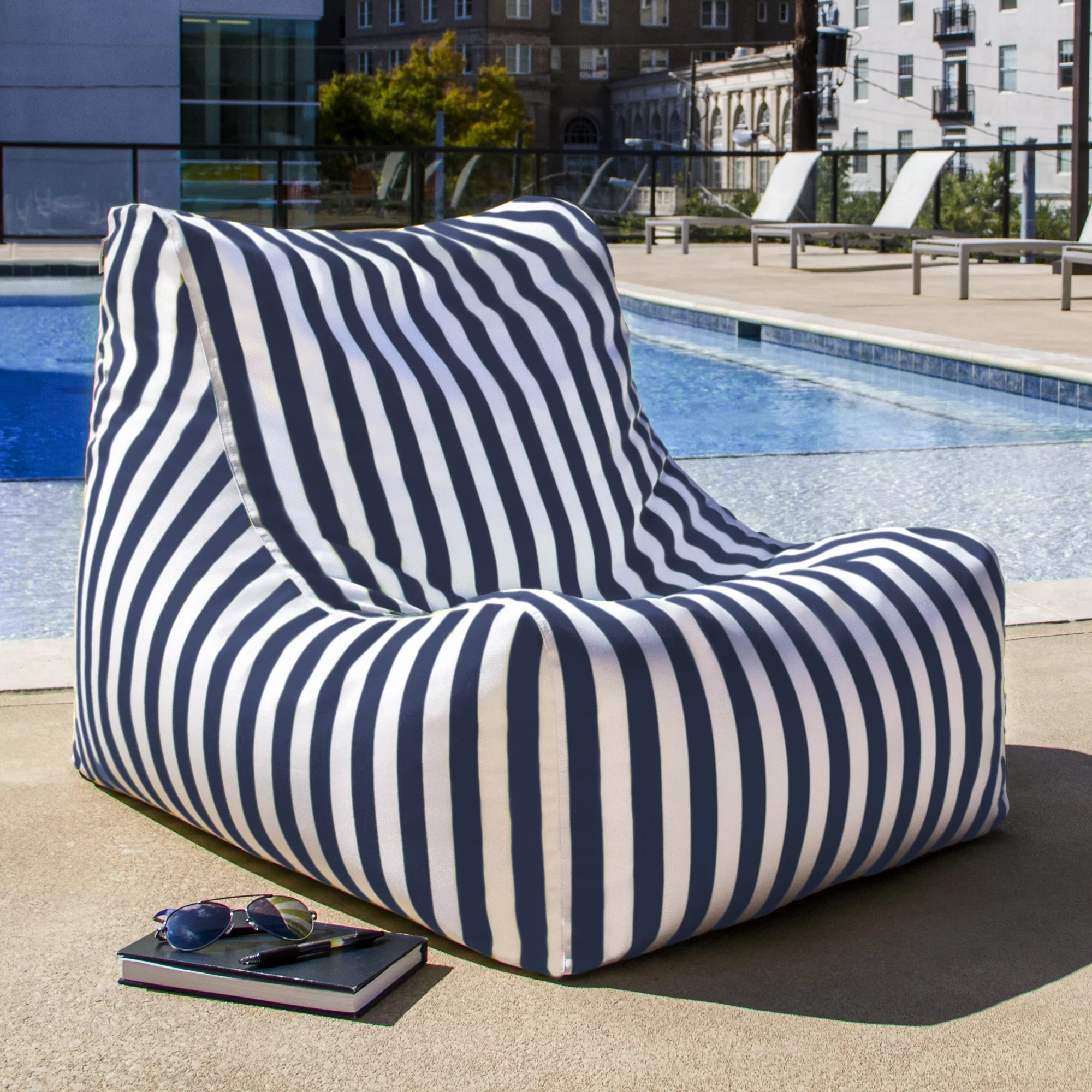 Outside Lounge Chairs Jaxx Ponce Outdoor Striped Patio Lounge Chair Reviews Wayfair
