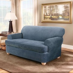 Sure Fit Stretch Stripe 2 Piece T Cushion Sofa Slipcover Sears Leather Warranty Loveseat