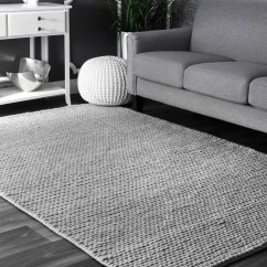 Grey Rug Living Room Wooden Ceiling Designs For Makenzie Woolen Cable Hand Woven Light Gray Area Reviews