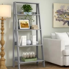 Bookshelf In Living Room La Z Boy Set Distressed Gray Bookcase Wayfair Quickview