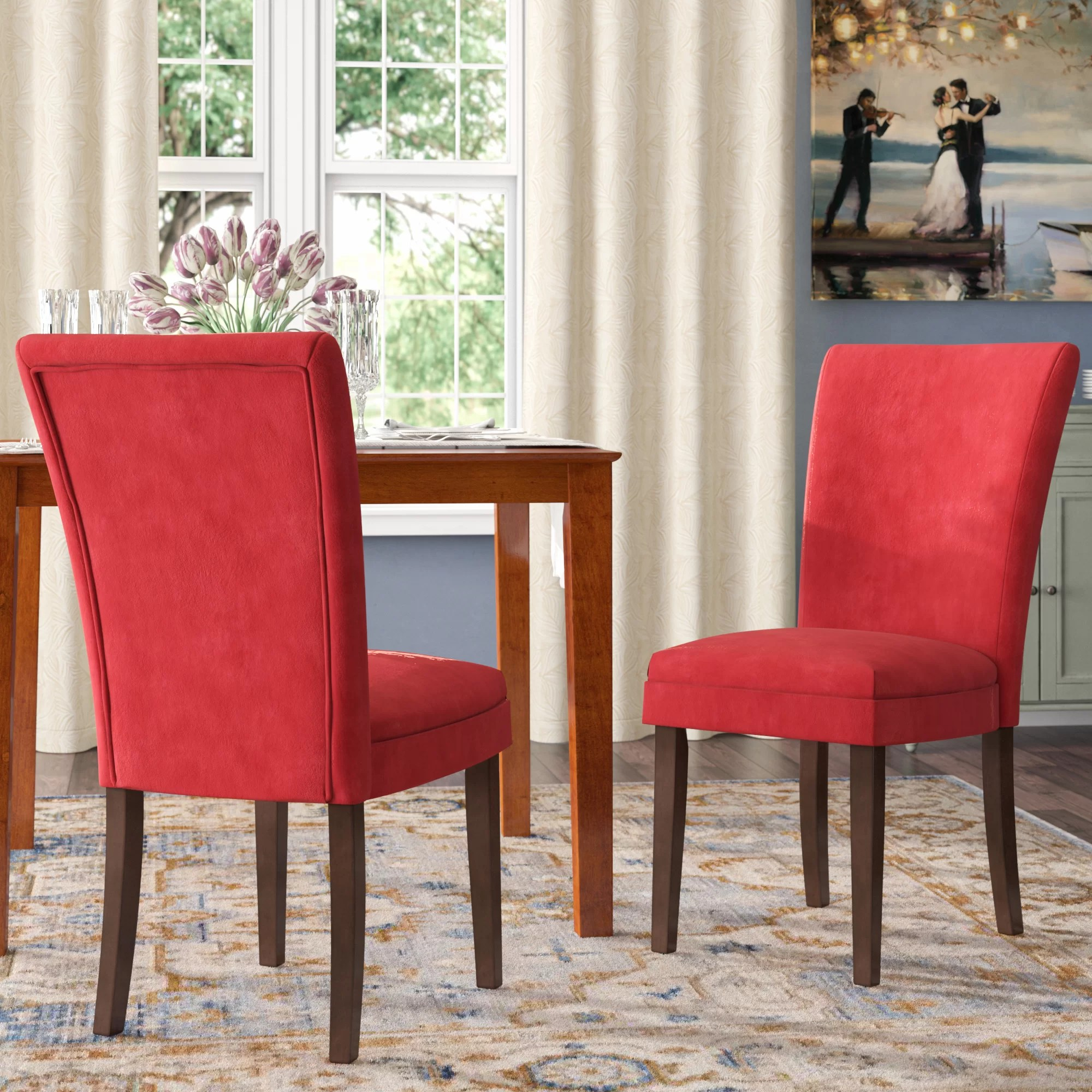 Red Upholstered Dining Chairs Doerr Side Upholstered Dining Chair