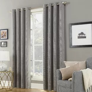 curtains in gray living room orange wall ideas rodeo home grey wayfair ca save