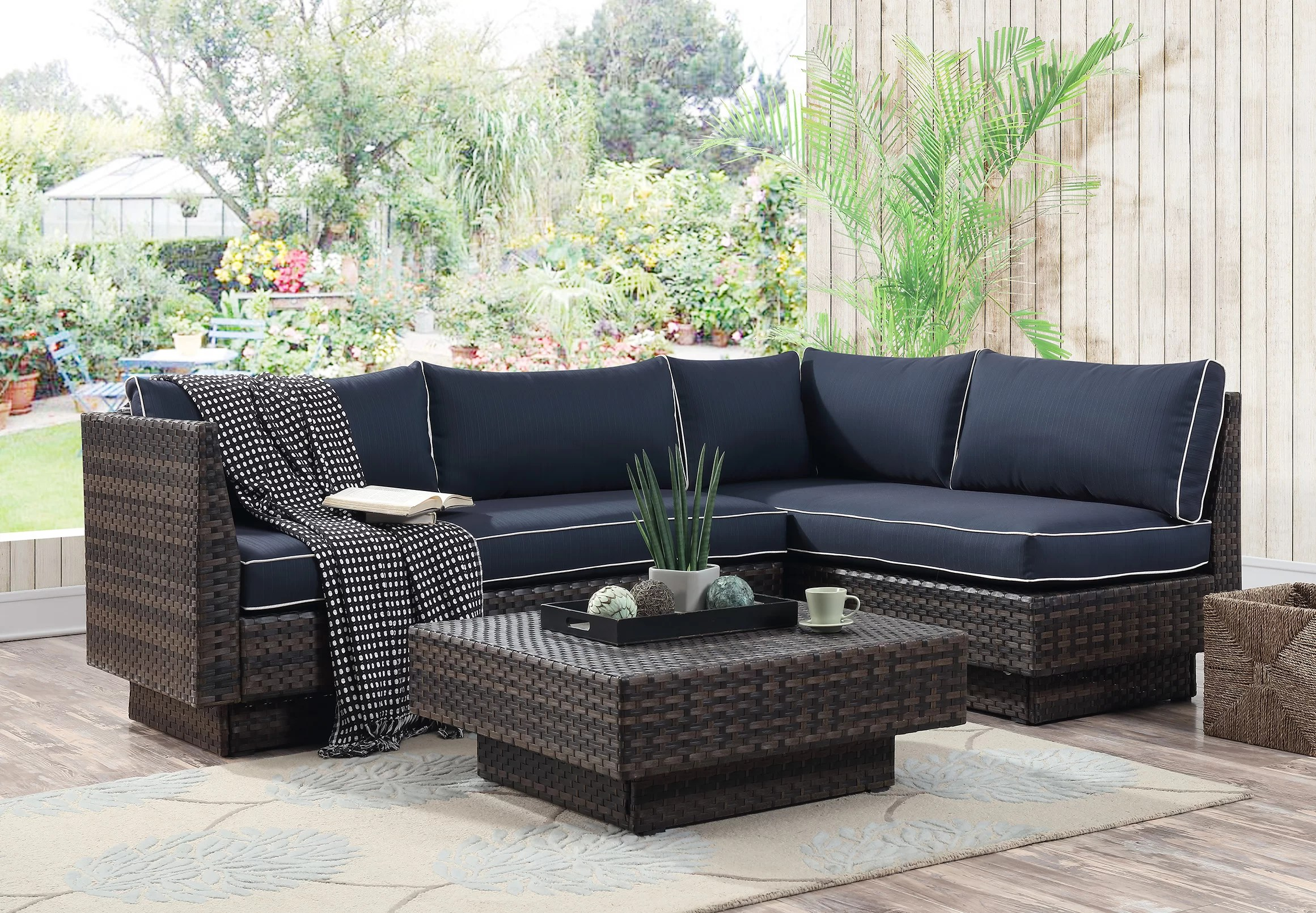 Rattan 3 Piece Sofa Mulford Outdoor 3 Piece Rattan Sectional Set With Cushions