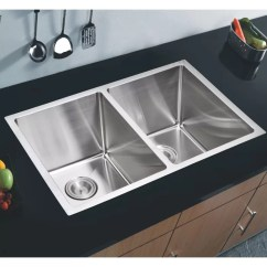 Stainless Steel Undermount Kitchen Sinks Unique Wall Clocks Dcor Design 50 31 L X 18 W Double Basin Sink With Coved Corner Wayfair Ca