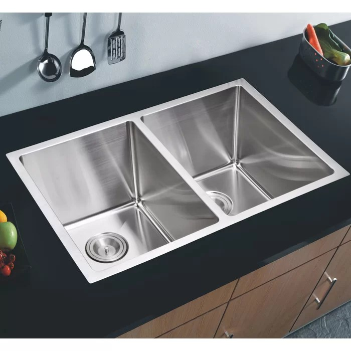 stainless steel undermount kitchen sinks renovation los angeles dcor design 50 31 l x 18 w double basin sink with coved corner wayfair ca