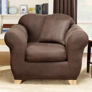 leather chair covers to buy stacking sling grey butterfly wayfair stretch box cushion armchair slipcover