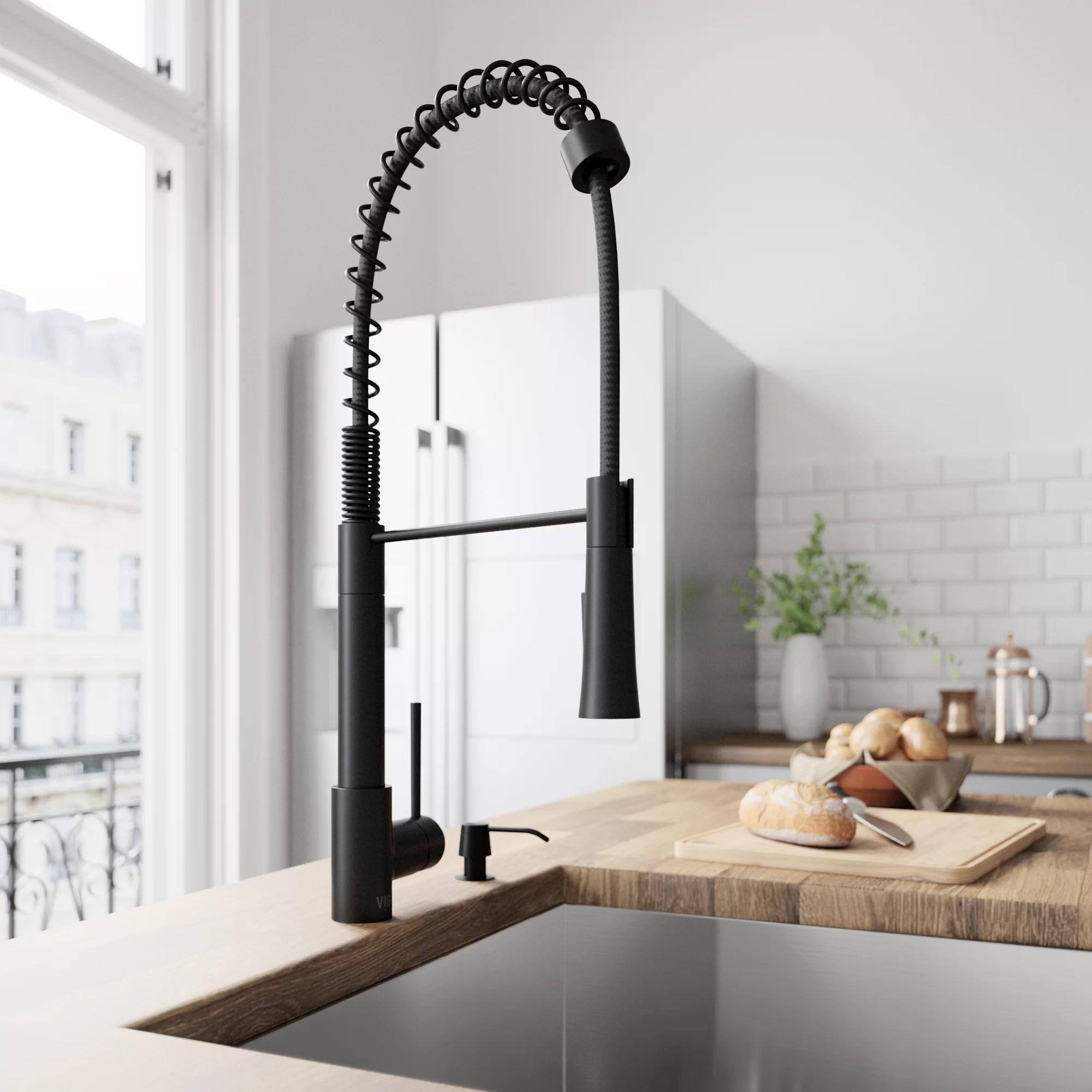 single kitchen faucet glass knobs vigo laurelton pull down handle reviews wayfair