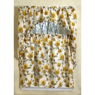 kitchen curtain sets corner hutch sheer curtains set wayfair yacine sunflower