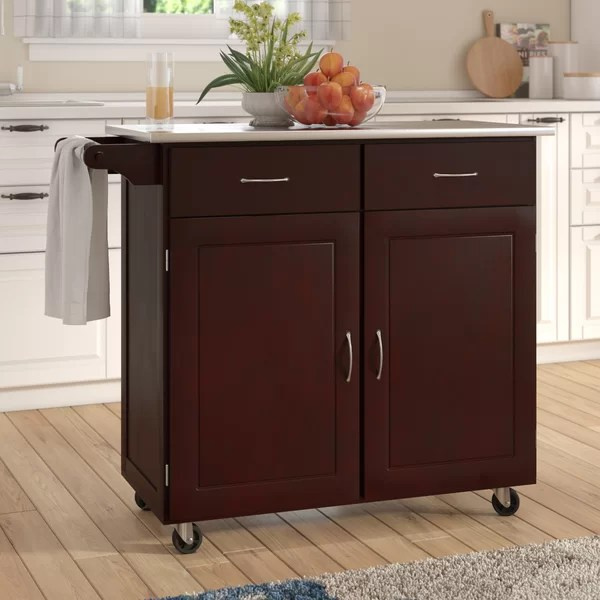 large kitchen cart mosaic backsplash southerland with stainless steel top andover mills reviews wayfair
