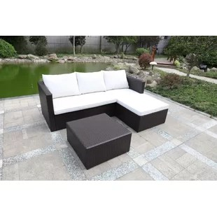 garden corner sofa with dining table 100 genuine leather rattan set wayfair co uk ange 4 seater effect by lynton