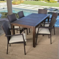 Outdoor Table And Chairs Wood Tranquil Lift Chair Dining Sets Joss Main Avenir Wicker 7 Piece Set With Cushions